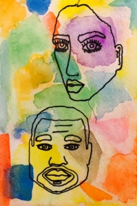 For example, a Kim and Kanye watercolor, which took 3 naps